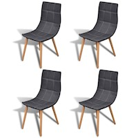 4x Fabric Dining Chairs w/ Wooden Legs in Dark Grey