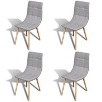 4x Fabric Dining Chairs w Wooden Legs in Light Grey