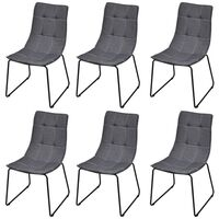 6x Fabric Dining Chairs with Iron Legs in Dark Grey