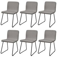 6x Fabric Upholstered Dining Chairs in Light Grey