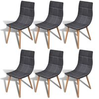 6x Fabric Dining Chairs w/ Wooden Legs in Dark Grey