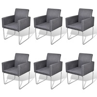 6x Fabric Dining Chair with Armrests in Dark Grey