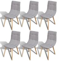 6x Fabric Dining Chairs w Wooden Legs in Light Grey