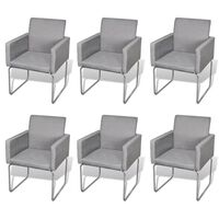 6x Fabric Dining Chair with Armrests in Light Grey