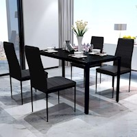 Glass Dining Table w 4 Faux Leather Chairs in Black