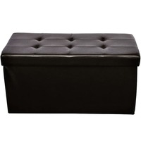 Faux Leather Folding Storage Ottoman Stool in Brown