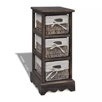 3 Tier Wooden Storage Cabinet w Weave Baskets Brown