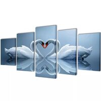 5 Panel Love Swan Canvas Print Visual Wall Art