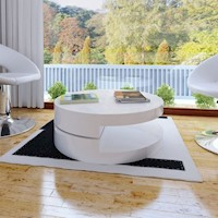 MDF Wood Swivel Round Coffee Table in White 76cm