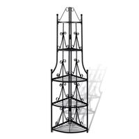 Rose Pattern 5 Tier Corner Plant Stand Black 160cm