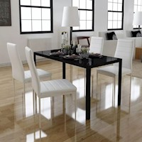 Glass Dining Table w 4 Faux Leather Chairs in White
