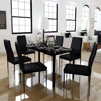 Glass Dining Table w 6 Faux Leather Chairs in Black