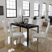 Glass Dining Table w 6 Faux Leather Chairs in White