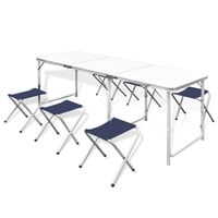 Foldable Aluminium Camping Table Set with 6 Stools