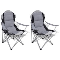 2x Foldable Outdoor Picnic Camping Chairs in Grey