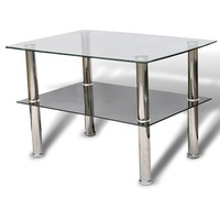 2 Tier Tempered Glass Coffee Table with Steel Legs