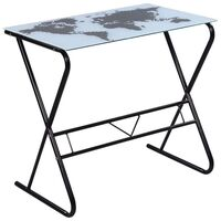 Glass Top Home Office Desk w World Map Pattern 80cm