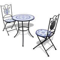 3pc Outdoor Mosaic Bistro Set in Blue & White 60cm