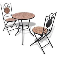 3pc Outdoor Mosaic Bistro Set in Terracotta 60cm