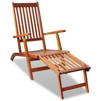 Adjustable Outdoor Wooden Deck Chair Sun Lounge