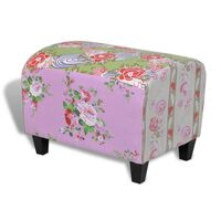 Floral Design Fabric Ottoman Footstool in Patchwork