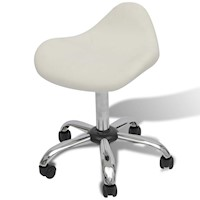 Chrome & Faux Leather Curve Salon Stool Chair White