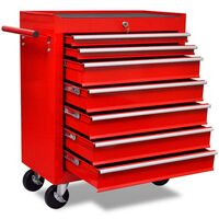Workshop Tool Trolley Cabinet with 7 Drawers in Red