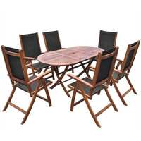 7pc Outdoor Wooden Dining Set with Oval Table 160cm