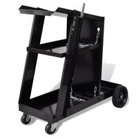 Steel Workshop Welding Trolley with 3 Shelves Black