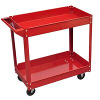 Workshop Tool Trolley Cabinet with 2 Shelves in Red