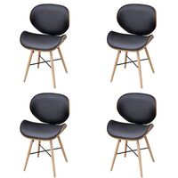 4x Wood & Faux Leather Curved Dining Chair in Black