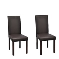 2x High Back Faux Leather Dining Chairs in Brown