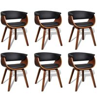 6x Wood and Faux Leather Cupped Back Dining Chairs
