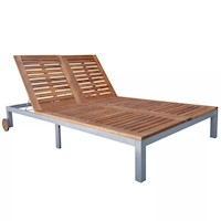 Double Acacia Wood Sun Lounge Day Bed w/ 2 Wheels