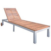 Single Acacia Wood Sun Lounge Day Bed w/ 2 Wheels