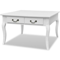 MDF Wood Square Coffee Table w/ 4 Drawers in White