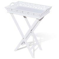 MDF Wood Side Table w/ Removable Tray in White