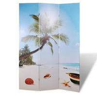 3 Panel Dual Sided Room Divider in Beach 120x180cm