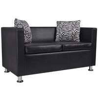 2 Seat Faux Leather Sofa w/ Throw Pillows in Black