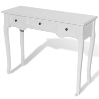 MDF Wood Console Hall Table w/ 3 Drawers in White