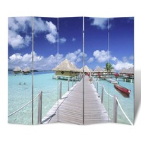5 Panel Dual Sided Room Divider Beach 200x180cm