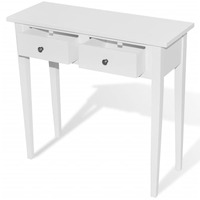 MDF Wood Console Hall Table w/ 2 Drawers in White