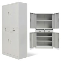 Steel Office Cabinet Locker w/ 4 Doors & 2 Drawers