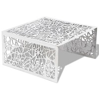 Geometric Openwork Aluminium Coffee Table in Silver