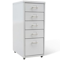 Steel Office Filing Cabinet with 5 Drawers in Grey