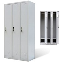 Steel Office Cabinet Locker w 3 Doors in Grey 180cm