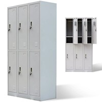 Steel Office Cabinet Locker w 6 Doors in Grey 180cm