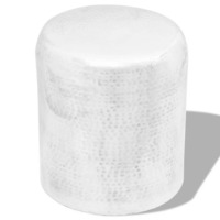 Cylindrical Aluminium Hammered Side Table in Silver