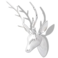 Aluminium Wall Mounted Deer Head Decor in Silver