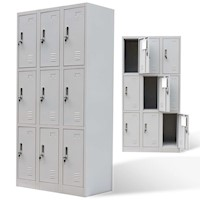 Steel Office Cabinet Locker w 9 Doors in Grey 180cm